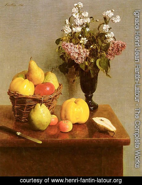 Ignace Henri Jean Fantin-Latour - Still Life With Flowers And Fruit