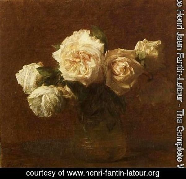 Ignace Henri Jean Fantin-Latour - Yellow Pink Roses in a Glass Vase