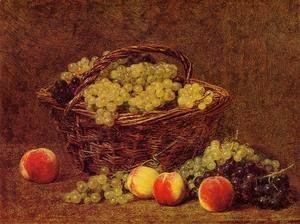 Ignace Henri Jean Fantin-Latour - Basket of White Grapes and Peaches