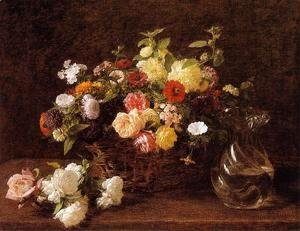 Ignace Henri Jean Fantin-Latour - Basket of Flowers