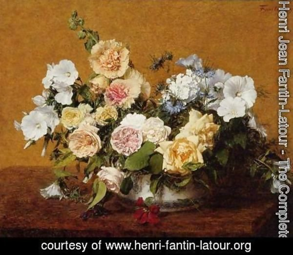 Ignace Henri Jean Fantin-Latour - Bouquet of Roses and Other Flowers