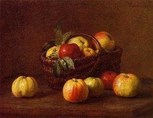 Ignace Henri Jean Fantin-Latour - Apples in a Basket on a Table