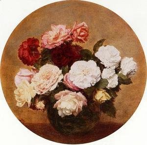 Ignace Henri Jean Fantin-Latour - A Large Bouquet of Roses
