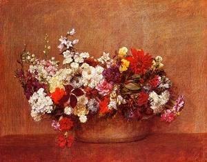 Ignace Henri Jean Fantin-Latour - Flowers in a Bowl