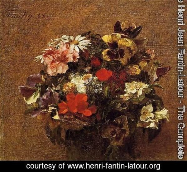 Ignace Henri Jean Fantin-Latour - Bouquet of Flowers: Pansies