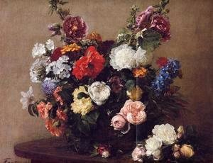 Ignace Henri Jean Fantin-Latour - Bouquet of Diverse Flowers