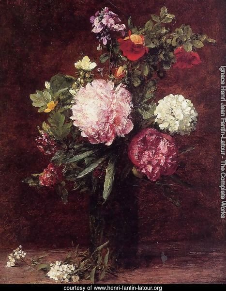 Flowers, Large Bouquet with Three Peonies