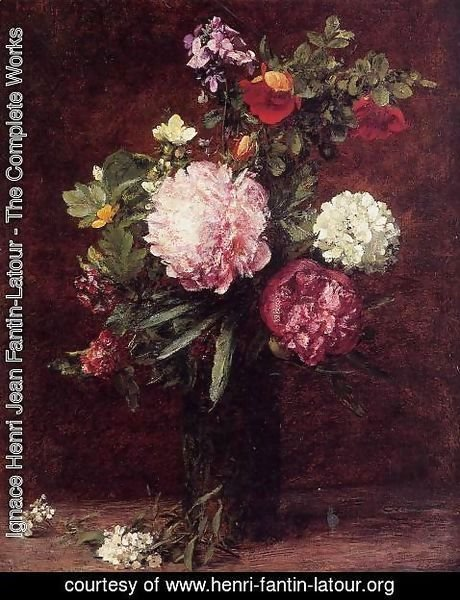 Ignace Henri Jean Fantin-Latour - Flowers, Large Bouquet with Three Peonies