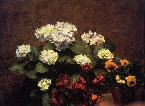 Ignace Henri Jean Fantin-Latour - Hydrangias, Cloves and Two Pots of Pansies
