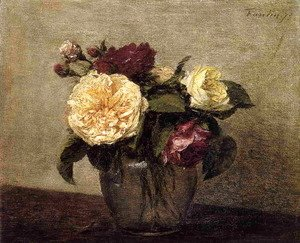 Ignace Henri Jean Fantin-Latour - Yellow and Red Roses