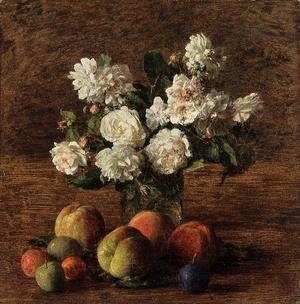 Ignace Henri Jean Fantin-Latour - Still Life: Roses and Fruit