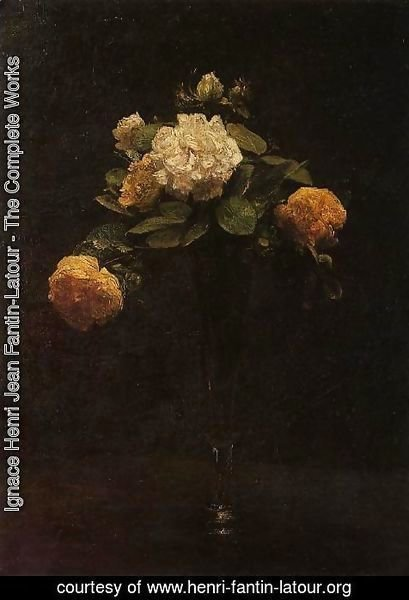 Ignace Henri Jean Fantin-Latour - White and Yellow Roses in a Tall Vase
