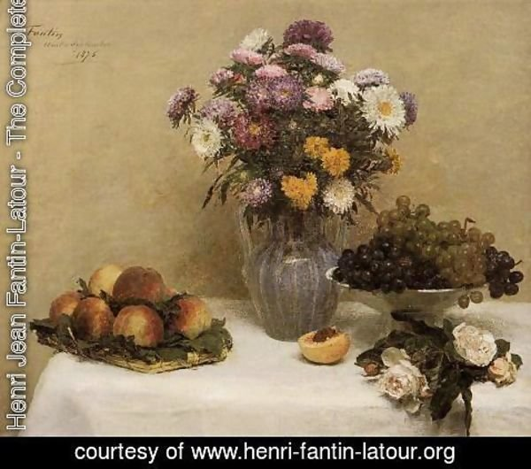 Ignace Henri Jean Fantin-Latour - White Roses, Chrysanthemums in a Vase, Peaches and Grapes on a Table with a White Tablecloth