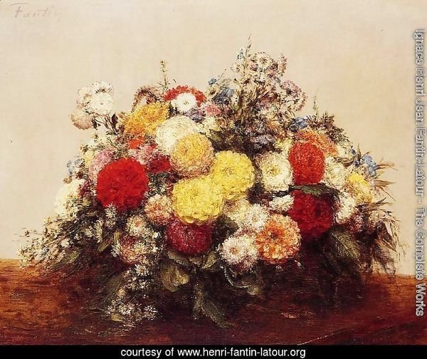 Large Vase of Dahlias and Assorted Flowers