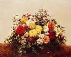 Ignace Henri Jean Fantin-Latour - Large Vase of Dahlias and Assorted Flowers