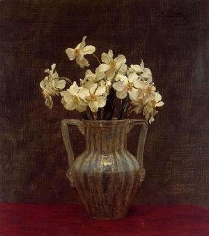 Ignace Henri Jean Fantin-Latour - Narcisses in an Opaline Glass Vase