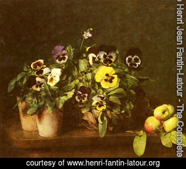 Ignace Henri Jean Fantin-Latour - Still Life with Pansies