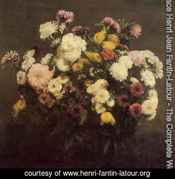 Ignace Henri Jean Fantin-Latour - Large Bouquet of Crysanthemums