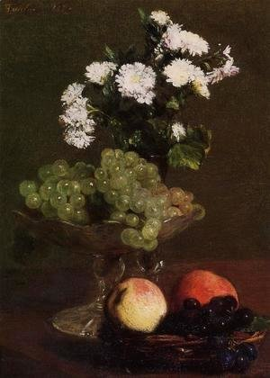 Still Life: Chrysanthemums and Grapes