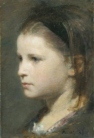 Ignace Henri Jean Fantin-Latour - Head of a Young Girl