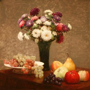 Ignace Henri Jean Fantin-Latour - Asters and Fruit on a Table