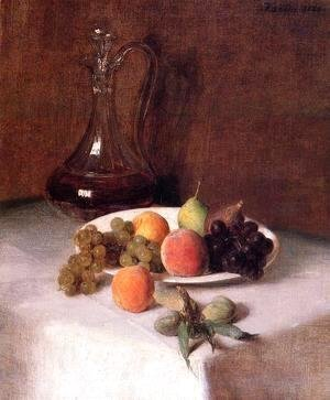 Ignace Henri Jean Fantin-Latour - A Carafe of Wine and Plate of Fruit on a White Tablecloth