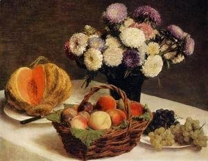 Ignace Henri Jean Fantin-Latour - Flowers and Fruit, a Melon