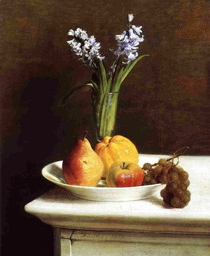 Ignace Henri Jean Fantin-Latour - Still Life: Hyacinths and Fruit