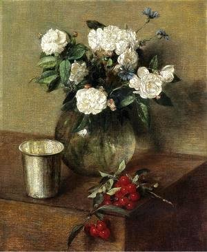 Ignace Henri Jean Fantin-Latour - White Roses and Cherries