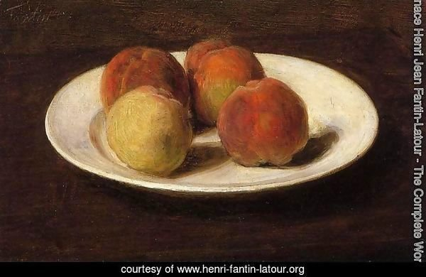 Still Life of Four Peaches