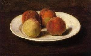 Ignace Henri Jean Fantin-Latour - Still Life of Four Peaches