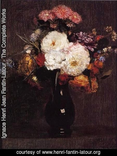 Ignace Henri Jean Fantin-Latour - Dahlias, Queens Daisies, Roses and Cornflowers