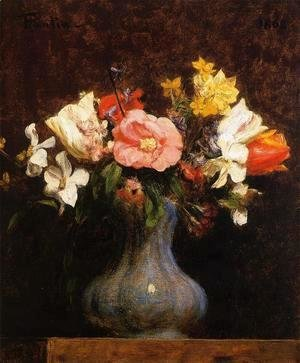 Ignace Henri Jean Fantin-Latour - Flowers, Camelias and Tulips