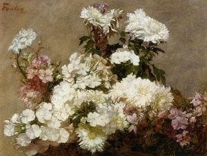 Ignace Henri Jean Fantin-Latour - White Phlox, Summer Chrysanthemum and Larkspur