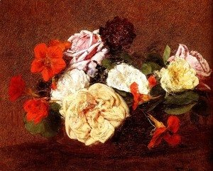 Ignace Henri Jean Fantin-Latour - Bouquet Of Roses And Nasturtiums