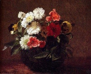 Ignace Henri Jean Fantin-Latour - Flowers In A Clay Pot