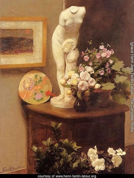 Still Life With Torso And Flowers