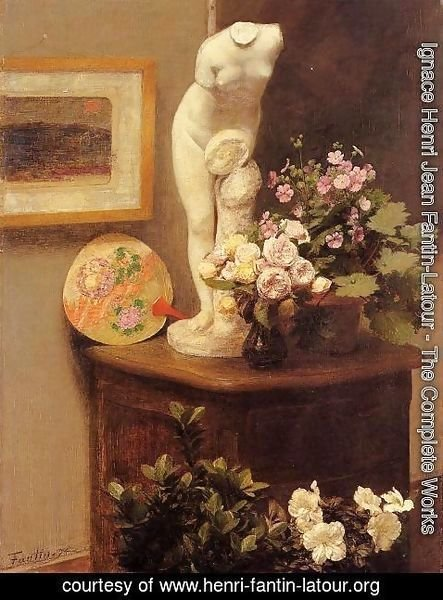 Ignace Henri Jean Fantin-Latour - Still Life With Torso And Flowers