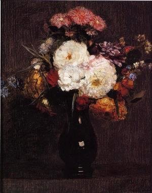 Ignace Henri Jean Fantin-Latour - Dahlias, Queens Daisies, Roses and Corn Flowers