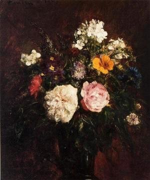 Ignace Henri Jean Fantin-Latour - Still Life with Flowers 2
