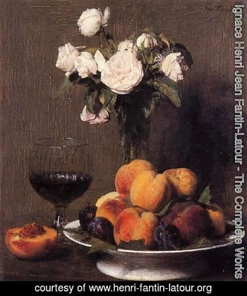 Ignace Henri Jean Fantin-Latour - Still Life with Roses, Fruit and a Glass of Wine