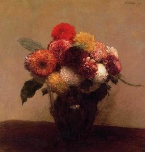 Ignace Henri Jean Fantin-Latour - Dahlias, Queens Daisies, Roses and Corn Flowers I