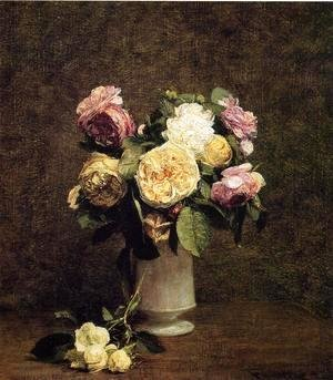 Roses in a White Porcelin Vase