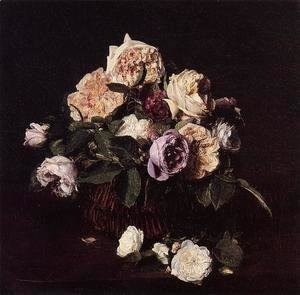 Ignace Henri Jean Fantin-Latour - Roses in a Basket on a Table