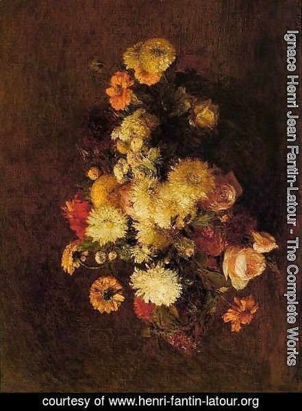 Ignace Henri Jean Fantin-Latour - Bouquet of Flowers I