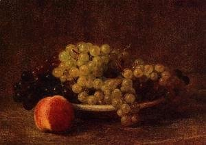 Ignace Henri Jean Fantin-Latour - Still Life with Grapes and a Peach