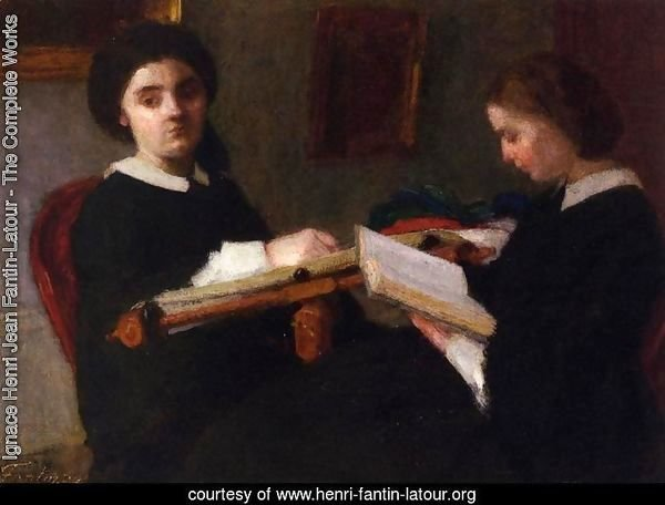 Two Young Women, Embroidering and Reading