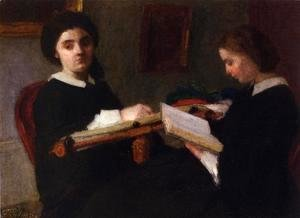 Ignace Henri Jean Fantin-Latour - Two Young Women, Embroidering and Reading