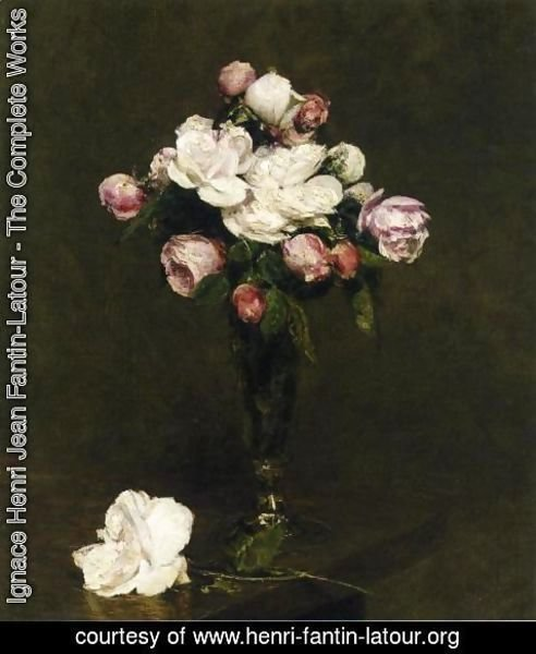Ignace Henri Jean Fantin-Latour - White Roses and Roses in a Footed Glass