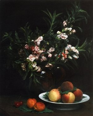 Still Life: Impatiens, Peaches and Apricots